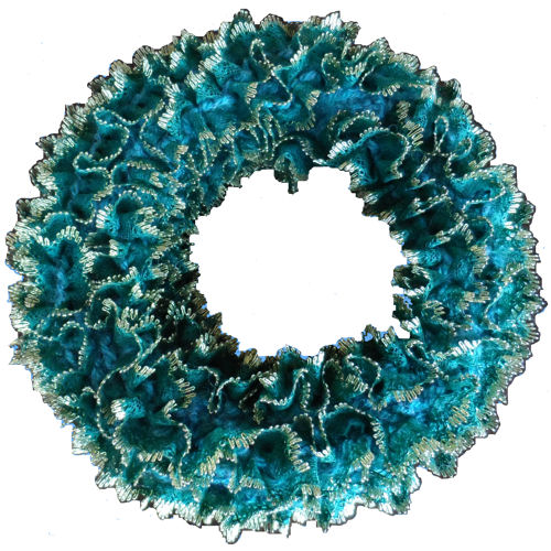 Knitted Eyelet Lace Christmas Wreath